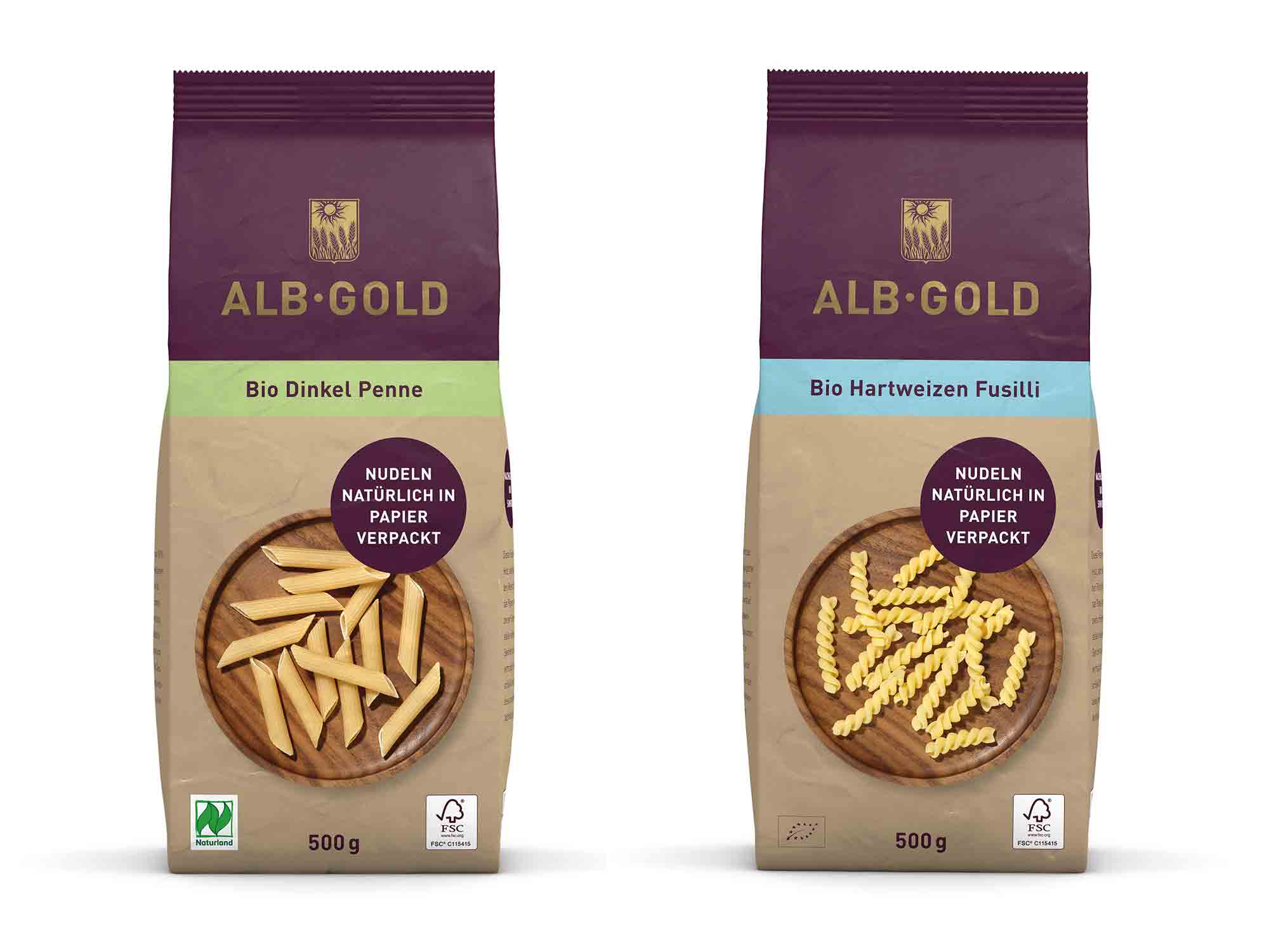 Zwei der fünf plastikfrei-verpackten Nudelsorten von Albgold / Photo: PR