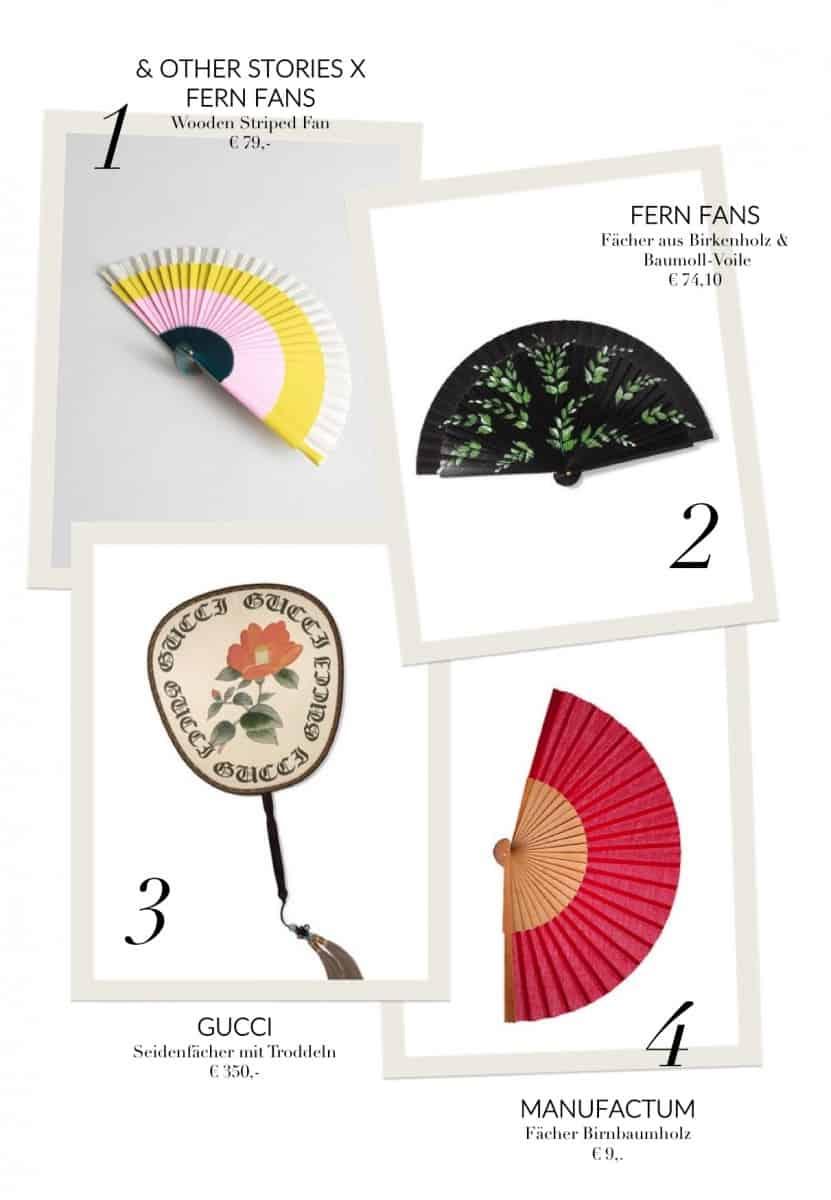 Manufactum, Gucci und Co. machen's vor, wie es designtechnisch geht: Einfarbig, gemustert oder bedruckt spenden die tragbaren Kunstwerke kühlende Erfrischung an heißen Tagen.